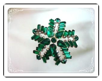 Green  Snowflake Brooch - Rhinestone  Pin-1337a-012312000