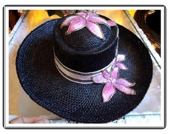 Vintage Black Hat - Pink Flowered Hatband and Flower Decorations by Z Z's Creations- H-080a-091414005