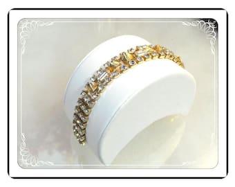 Vintage Rhinestone Bracelet with Metal Gold Leaf Embelishments   Brac-1199a-042213000