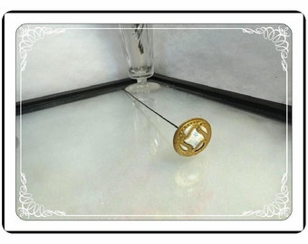 Extra Long Hatpin  - Victorian Art Deco Paisley Flower  Hatpin-004a-051413000