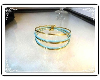 Multi Wire Bangles - Retro Turquoise & Goldtone - Vintage Bangle Bracelet  - Brac-3322a-112413001