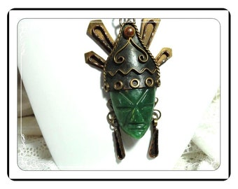 Jade Mask Pendant -  Mexican Brass Necklace in Brass & Copper -  Neck-1317a-040113000