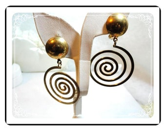 Large Spiral Earrings - Vintage Goldtone Clips E489a--071112000