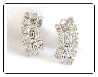 1960's  Rhinestone  Earrings  - Concave Screwback Earrings - E252a-052212000