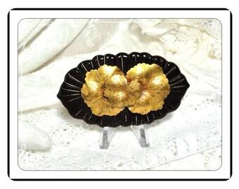 Art Deco Bakelite Brooch - Brass Flower Brown and Goldtone Pin-1932a-032313000