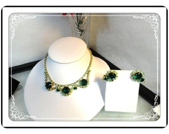 Green Rhinestone Demi - Vintage Necklace & Earring Set  -  Demi-3232a-060913020