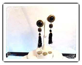Bollywood Bead Earrings - Shoulder Duster Black Tassel and Gold Filigree Bead Earrings -  E809a-081412000