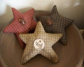 Set Of 3 Primitive Stained Red, White, And Blue Stars Americana Bowl Fillers/Tucks