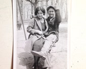 Vintage Photograph of 1920s Couple on Park Swing in love Black and White Ephemera Scrapbooking