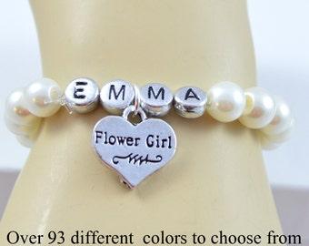 Flower Girl Name Bracelet, Wedding Jewelry, Wedding, Pearl Bracelet, Monogram, Personalized Jewelry, Name Bracelet, Children's Bracelet