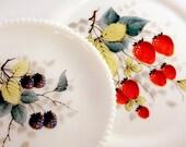 SALE Vintage Westmoreland Beaded Edge Handpainted Milk Glass Salad / Dessert Plate and Platter Set - Strawberries and Blackberries