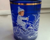 """Cobalt Blue 'Mary Gregory"""" 8oz. Tumbler, Hand-Painted, Little Boy on a Tricycle, Blue and White, Christmas"""