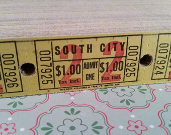 24 Vintage South City Movie Theater Tickets Ephemera Ticket Lot Kansas Theatre Yellow Cinema