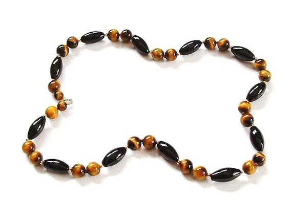 black onyx bead necklace tiger eye by