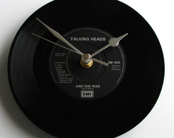 "TALKING HEADS, "" Wild Wild Life"" or ""Road To Nowhere"" or  ""And She Was"", Vinyl Record, Wall CLOCK, made from a recycled vinyl record single"
