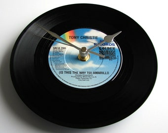 "TONY CHRISTIE Vinyl Record CLOCK made from recycled 7"" single of ""Is This The Way To Amarillo"". Classic 1970s vinyl single blue sky rainbow"