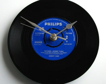 "Johnny Cash Vinyl Record CLOCK ""The Rebel"" 7"" single. Unique gift for Country Music fans everywhere..."