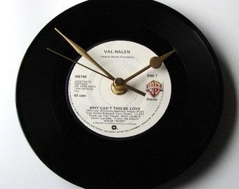 "VAN  HALEN Vinyl Record Clock ""Why Can't This Be Love"" 7"" single Fun gift fans boyfriend girlfriend Valentine secret admirer black and white"