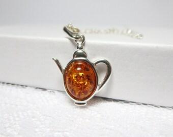 Amber Teapot  Necklace-  mini teapot Necklace-  sterling silver Teapot Pendant -tea Party necklace