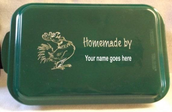 chicken cake pan, green cake pan, engraved cake pan, customized cake pan, personalized cake pan, cake pan with name,  cake pan for gift