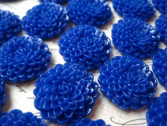 Royal Blue Mum Cabochons 6 Pcs Blue Cabochon Flower