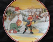 Salad Plate - Christmas Children Building A Snowman - Vintage Look - 8 1/2 Plate