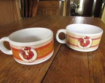 HOUSTON HARVEST Set of Two (2) Soup Mugs Bowls with Rooster Design
