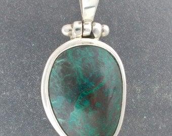 Malachite Chrysocolla Sterling silver pendant