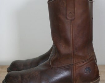 vintage ansi workn sport brown leather boots mens size 9.5D