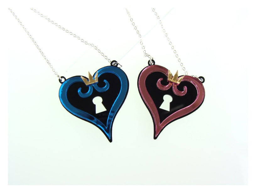 kingdom hearts inspired necklace couples set by catrinastoybox
