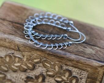 Rustic Sterling  *Petals Hoops*  Sterling Silver Medium Large Hoops earrings n152 - Spring Summer . Sunflower Daisy Shape. whimsical boho