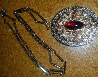 Vintage Gold Tone Filigree Rhinestone Locket Necklace