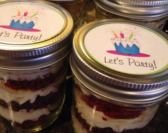 2 (8oz)Red Velvet Cupcakes-Happy Birthday Cake in Jar-Birthday Celebration-Edible Gift-Sweet 16-Birthday Party Gift