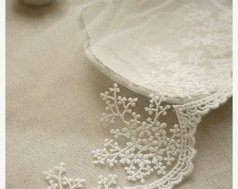 ivory lace trim , cotton embroidered mesh lace, scalloped trim, retro floral bridal lace