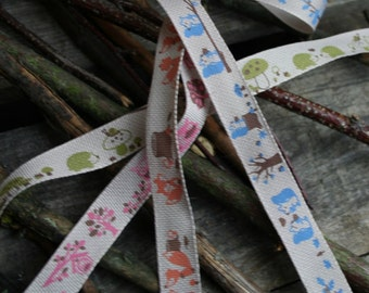 Woodlands Friends Ribbon, Cotton Ribbon, Squirrel, Fox, Owl, Hedgehog, By the Metre, 15mm