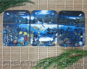 Plate Set of 3 Dolphin Whale Harmony Collection Plate Set Bradford Exchange Lassen Hope Ocean Sea Life Limited Edition FREE SHIPPING (315)
