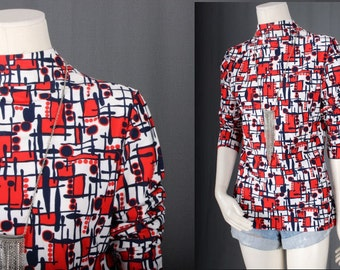 Vintage top blouse red white checks graphic print psychedelic bohemian hippie boho women size S small