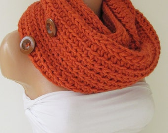 Orange Infinity Loop Scarf With Wooden Buttons,Neckwarmer,Handmade Circle Scarf,Cowl Scarf, Winter Accessories, Fall Fashion