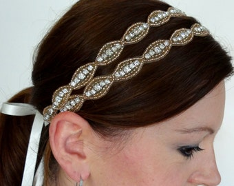 LUCY Double Rose Gold Crystal Bridal Headband with Rhinestones, Oval Beaded Headpiece