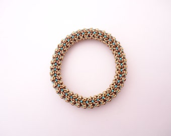 Kyra Bracelet - Extra large - Designed by EllaD2 - Turquoise Brown Gold