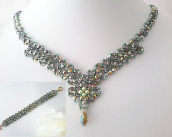 Glitz and Glamour Necklace and  Bracelet Set - Czech Crystal - Smoke and Green - Swarovski