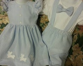 Matching brother sister easter outfits in seersucker fabric