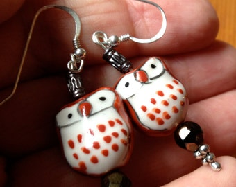 Owl Earrings - Cute Painted Glass Beads - Gift Boxed - Bird Lovers Be on the Lookout!