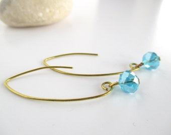 Long Wire Earrings, Long Blue Earrings, Blue Wire Earrings, Wire Wrapped Earrings, Crystal earrings, Jewellery for Wife, Wire Jewellery