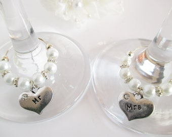 Mr and Mrs Wine Charms, Wedding Wine Charms, Champagne Flute Decoration, Top Table Wine Charms, Mr and Mrs Gift, Bride and Groom Gift
