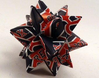 Medium Origami Star Made From Licensed Boston Red Sox Paper, Red Sox Star, Boston Baseball Ornament, Red Sox Decoration