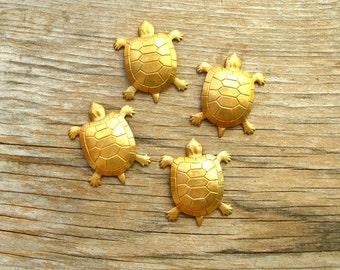 Brass Sea Turtle Stampings - Turtle Findings - Turtle Stamping - Brass Findings - Brass Stampings