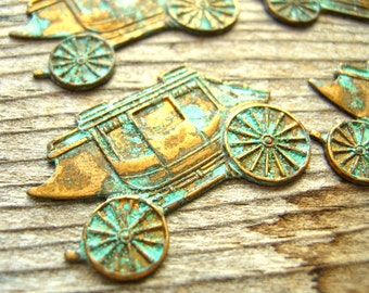 Gypsy Wagon - Brass Stampings - Victorian Carriage - Brass Findings - Brass Supplies - Gypsy Caravan - Green Patina