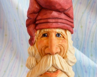 Hand Carved Smiling Santa Claus Decoration