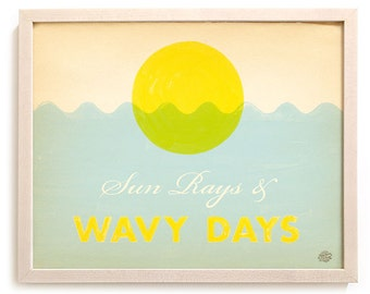 """Beach Art Limited Edition Print """"Sun Rays & Wavy Days"""""""